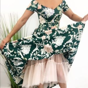 VINTAGE 80s GREEN FLORAL CRINOLINE HIGH LOW DRESS